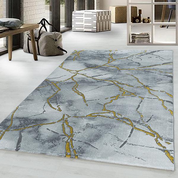 Modern vloerkleed - Marble Branch Grijs Goud