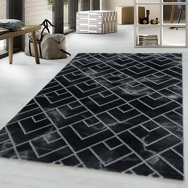 Modern vloerkleed - Marble Pattern Antraciet Zilver