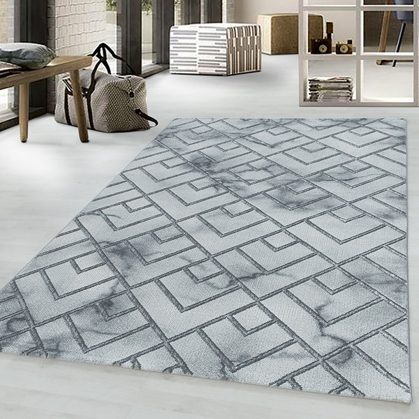 Modern vloerkleed - Marble Pattern Grijs Zilver