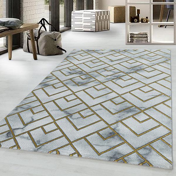 Modern vloerkleed - Marble Pattern Grijs Goud