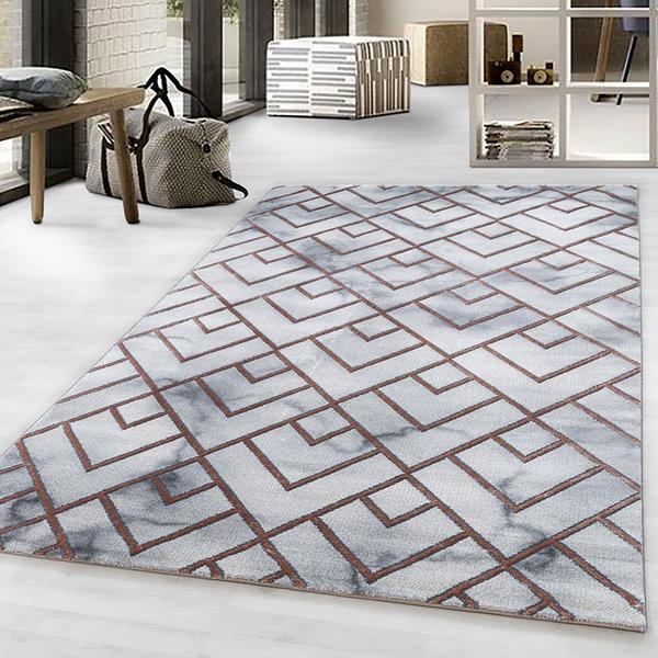 Modern vloerkleed - Marble Pattern Grijs Bruin