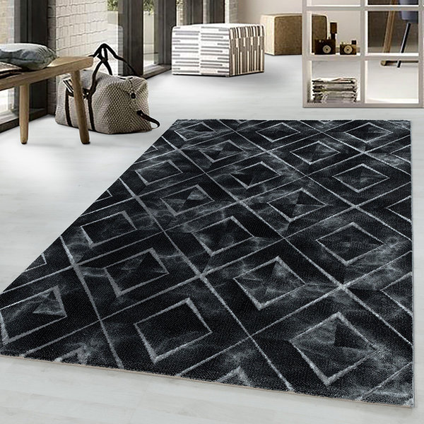 Modern vloerkleed - Marble Square Antraciet Zilver