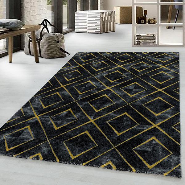 Modern vloerkleed - Marble Square Antraciet Goud