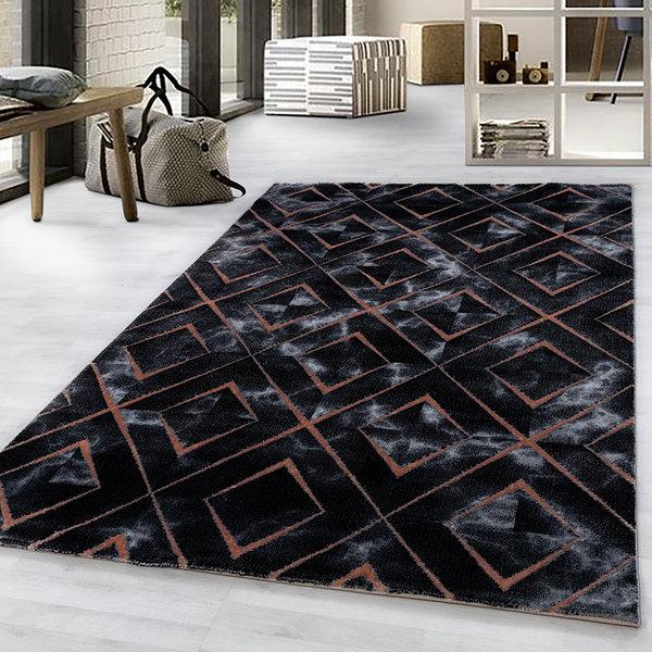 Modern vloerkleed - Marble Square Antraciet Bruin