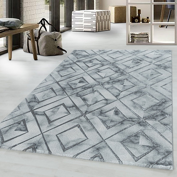 Modern vloerkleed - Marble Square Grijs Zilver
