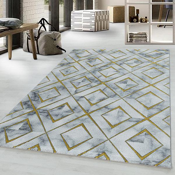 Modern vloerkleed - Marble Square Grijs Goud