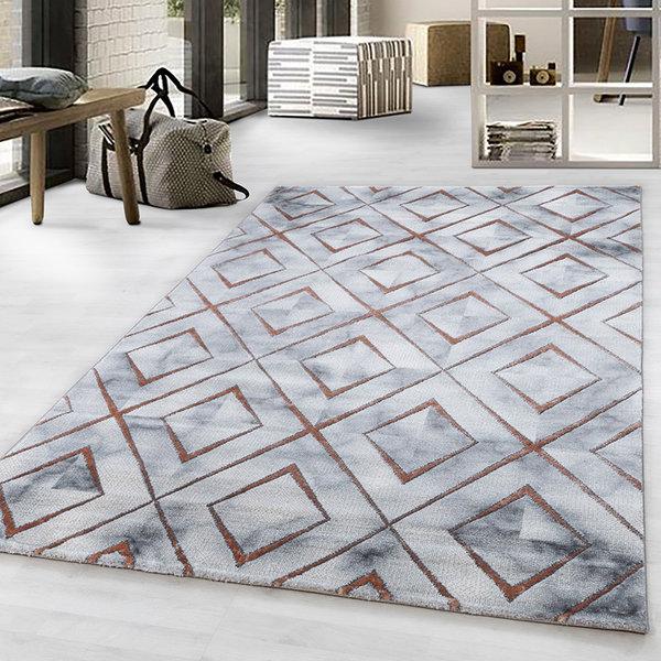 Modern vloerkleed - Marble Square Grijs Bruin