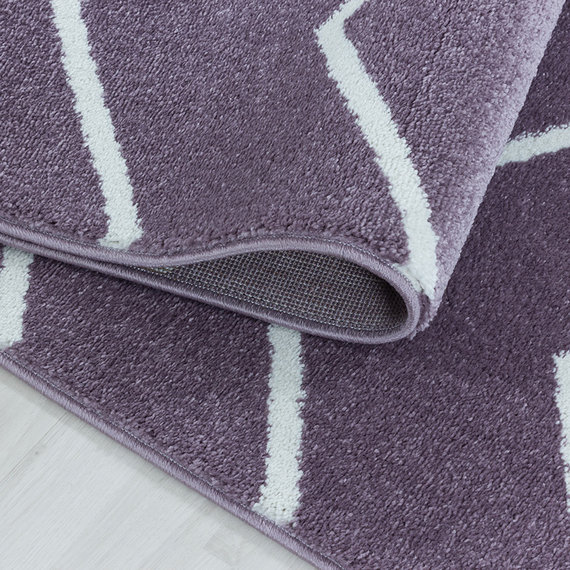 Adana Carpets Laagpolig vloerkleed - Smoothly Weave Paars Wit