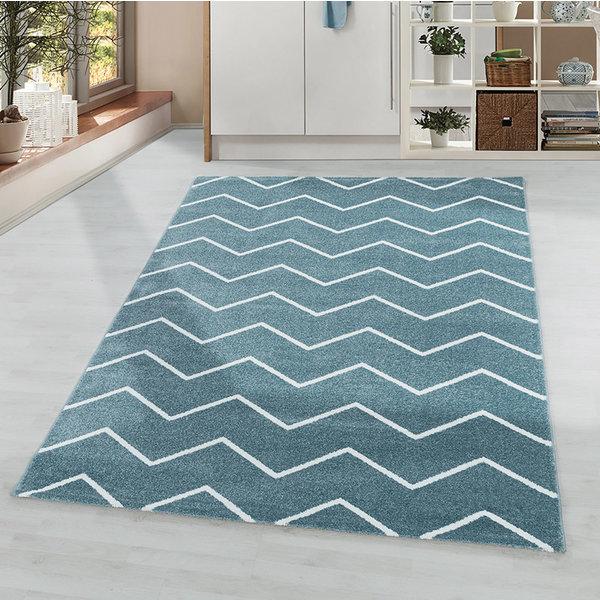 Laagpolig vloerkleed - Smoothly Weave Blauw Wit