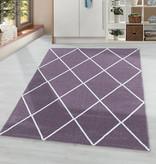 Adana Carpets Laagpolig vloerkleed - Smoothly Lines Paars Wit