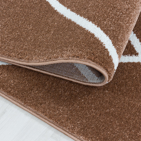 Adana Carpets Laagpolig vloerkleed - Smoothly Lines Bruin Wit
