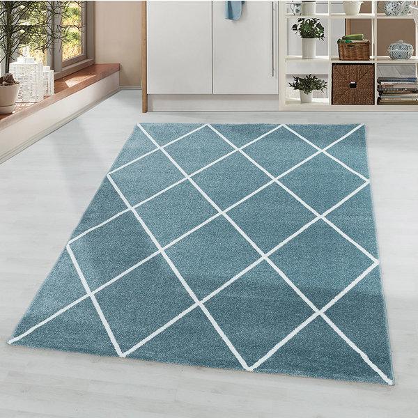 Laagpolig vloerkleed - Smoothly Lines Blauw Wit