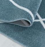 Adana Carpets Laagpolig vloerkleed - Smoothly Lines Blauw Wit