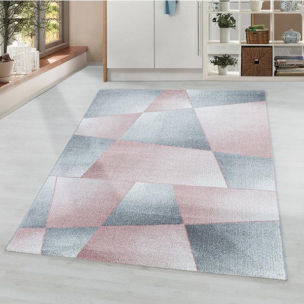Laagpolig vloerkleed - Smoothly Design Roze Grijs