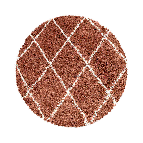 Adana Carpets Rond berber vloerkleed - Agadir Lines Terra Creme