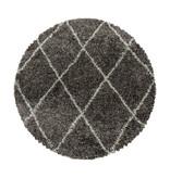 Adana Carpets Rond berber vloerkleed - Agadir Lines Taupe Creme