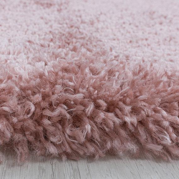 Adana Carpets Rond hoogpolig vloerkleed - Fuzzy Roze