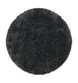 Adana Carpets Rond hoogpolig vloerkleed - Fuzzy Donkergrijs