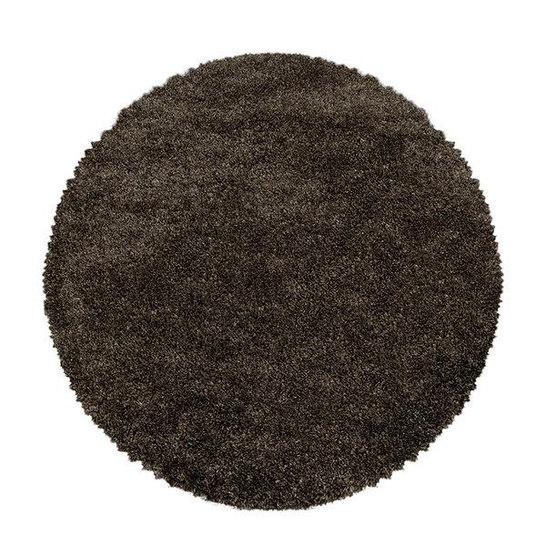 Rond hoogpolig vloerkleed - Fuzzy Bruin
