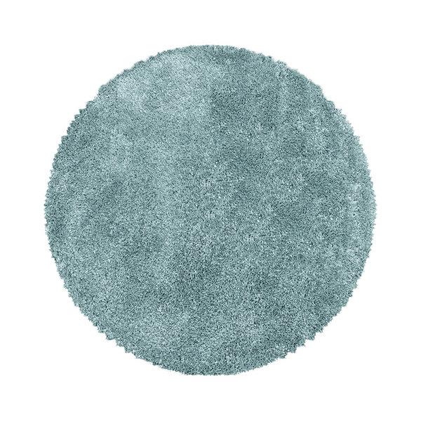 Rond hoogpolig vloerkleed - Fuzzy Lichtblauw