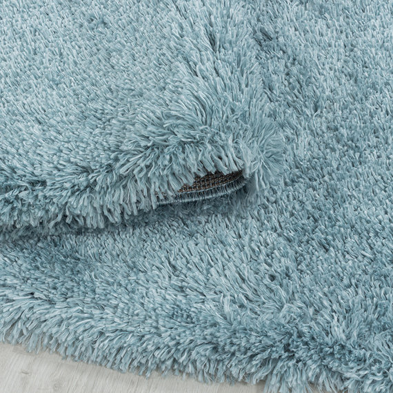 Adana Carpets Rond hoogpolig vloerkleed - Fuzzy Lichtblauw