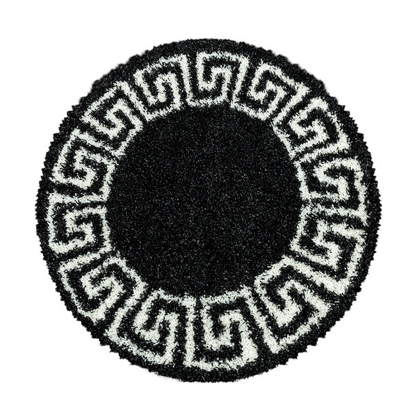 Rond modern vloerkleed - Greece Antraciet Creme