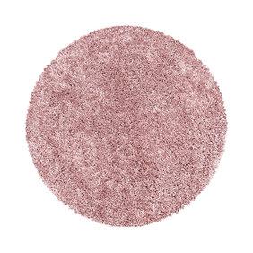 Adana Carpets Rond hoogpolig vloerkleed - Softy Roze