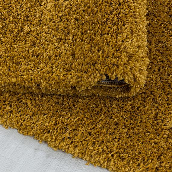 Adana Carpets Rond hoogpolig vloerkleed - Softy Okergeel