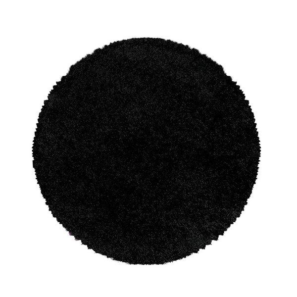 Rond hoogpolig vloerkleed - Softy Zwart