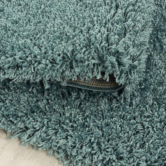 Adana Carpets Rond hoogpolig vloerkleed - Softy Blauw Groen