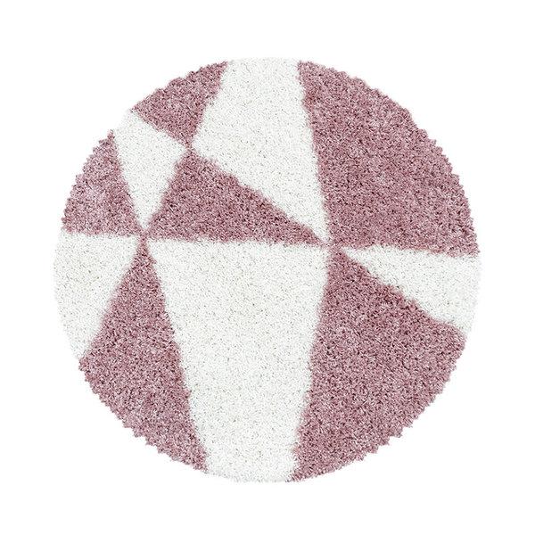 Adana Carpets Rond hoogpolig vloerkleed - Tuggy Roze