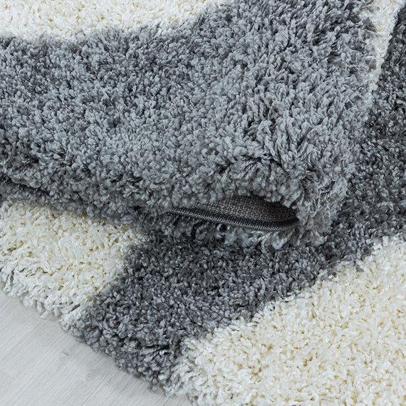 Adana Carpets Rond hoogpolig vloerkleed - Tuggy Grijs