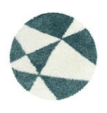 Adana Carpets Rond hoogpolig vloerkleed - Tuggy Blauw