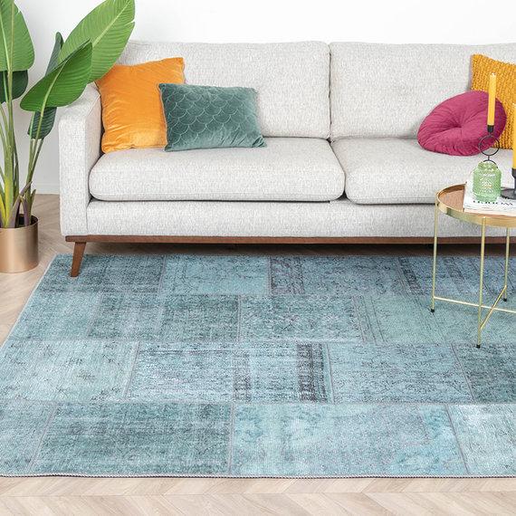 FRAAI Vintage patchwork Vloerkleed - Estate Blauw groen
