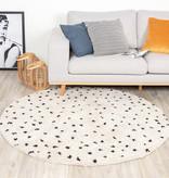 FRAAI Rond hoogpolig vloerkleed - Grand Dots Creme/Zwart