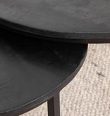 FRAAI Salontafel Mangohout - Ted zwart 2/set - 75x75x48 cm