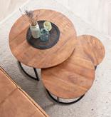 FRAAI Salontafel Mangohout - Ted bruin 3/set - 75x75x48 cm