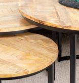 FRAAI Salontafel Mangohout - Ted naturel 3/set - 75x75x48 cm