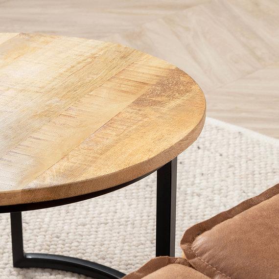 FRAAI Salontafel Mangohout - Ted naturel 2/set - 75x75x48 cm