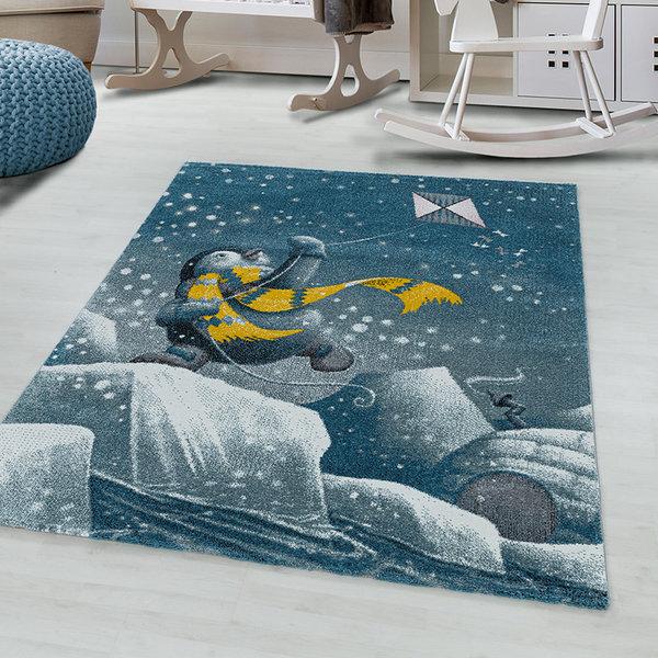 Kindervloerkleed - Fleurtje Pinguin Blauw