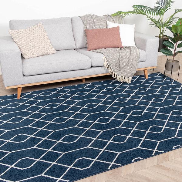 Zacht Vloerkleed Ambiance - Pattern Blauw Wit