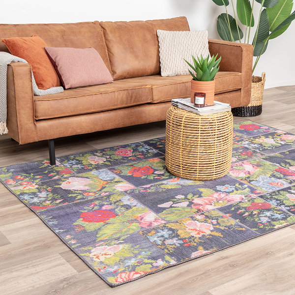 Patchwork Rozenkelim vloerkleed - Rosa Red