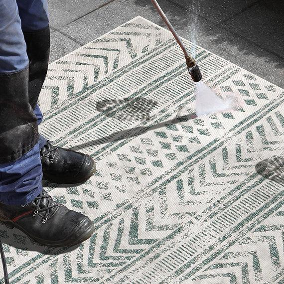 Bougari Buiten vloerkleed - Biri Groen Creme