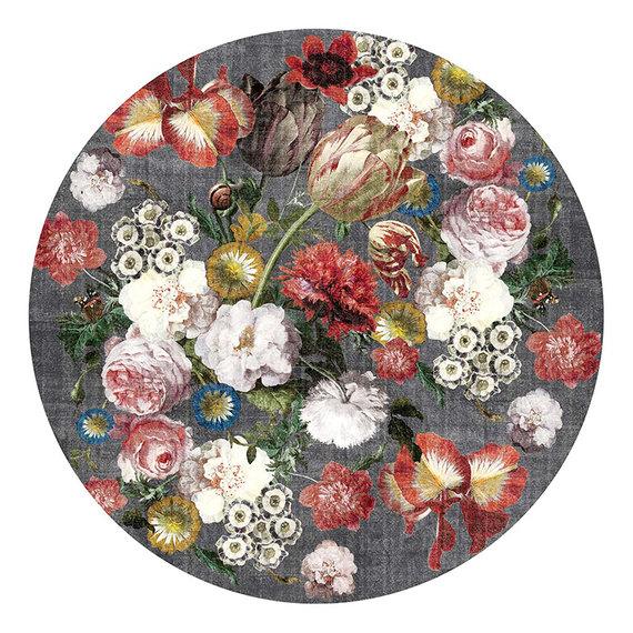 Rebelle Rond Bloemen vloerkleed - Fleur Grijs