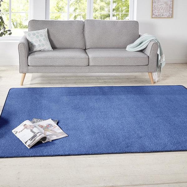 Vierkant Effen vloerkleed - Penny Blauw