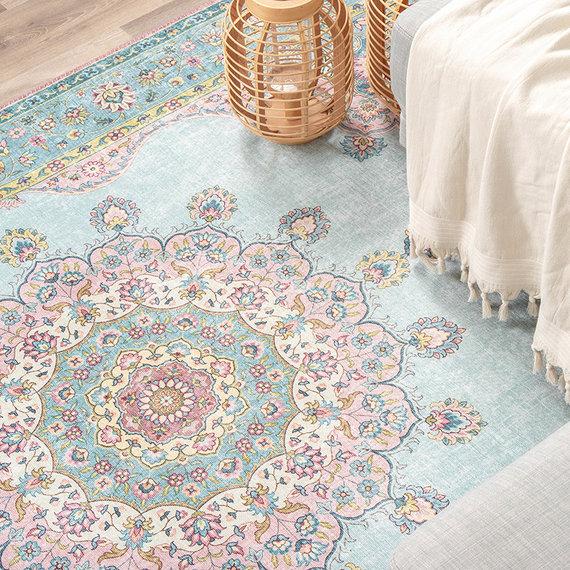 FRAAI Vintage vloerkleed - Lily Medaillon Lichtblauw