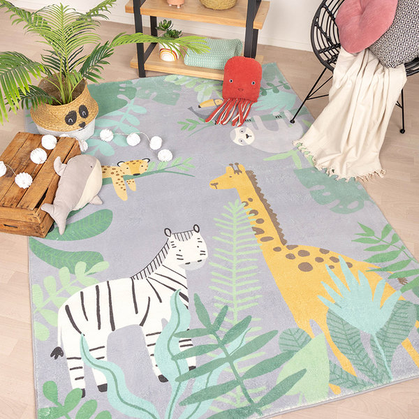 Kindervloerkleed - Jungle Giraffe Multicolor
