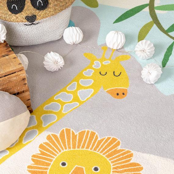 FRAAI Kindervloerkleed - Jungle Leeuw Multicolor
