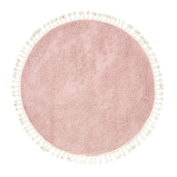 FRAAI Rond hoogpolig vloerkleed - Lofty Fringe Roze