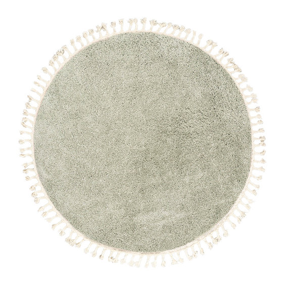 FRAAI Rond hoogpolig vloerkleed - Lofty Fringe Mint